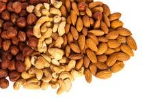 Hasselnötter kasju, mandlar Arkivfoton