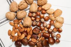 Hasselnötter, kastanjer, mandlar och valnötter Arkivfoton