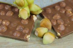 Hasselnötter och choklad royaltyfri foto