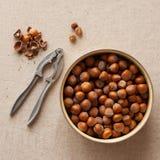 Hasselnötter och nötknäppare Royaltyfri Bild