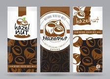 Hasselnötter som förpackar uppsättningen stock illustrationer