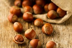 Hasselnötter spridde ut ur påsen på gammal träbakgrund Royaltyfri Fotografi