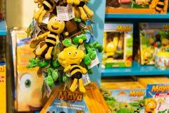 HASSELT, BELGIUM - AUGUST 8 2018: Products in souvenir boutique. In indoor theme park Plopsa in Hasselt Belgium stock photos