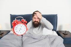 Hassen Sie diese Geräusche Problem mit dem frühen Morgen weckend Stehen Sie früh auf Spitzen für früh aufwachen Bärtiger Hippie d lizenzfreie stockfotos