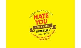 Hasser ziehen ` t wirklich Hass Sie an, die sie Ursache Sie ` bezüglich einer Reflexion sich hassen von, was sie sein möchten stock abbildung