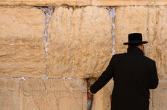 Hassidic Jew Praying. A hassidic Jew prays at the wailing wall in the Old City Royalty Free Stock Photography
