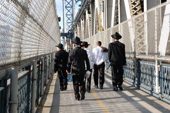 Hassidic Men on Manhattan Bridge Walkway, New York Royalty Free Stock Images