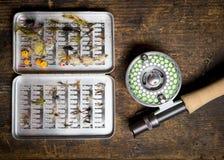 Haste de pesca com mosca e exemplo das moscas Imagens de Stock