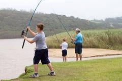 Haste de pesca da carcaça do menino Foto de Stock Royalty Free