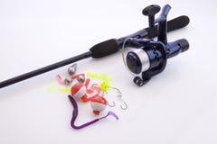 Haste de pesca no branco Fotografia de Stock Royalty Free