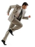 Hasten. Image of confident businessman running on white background