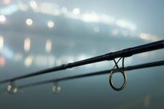 Hastes da carpa na noite nevoenta Edição urbana Pesca da noite Imagens de Stock