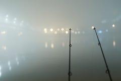 Hastes da carpa na noite nevoenta Edição urbana Pesca da noite Foto de Stock Royalty Free