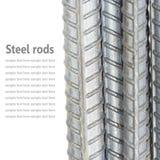Hastes de aço, barras do reforço isoladas no fundo branco usado foto de stock royalty free