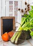 Hastes e abóbora do aipo na tabela de madeira Imagens de Stock Royalty Free