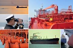 hastiga marin- handels- tankfartyg för collage Arkivfoto
