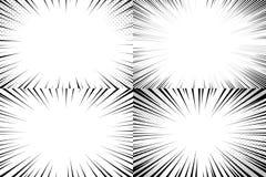 Hastighet fodrar bakgrund Komiska handlingremsor, fartfylld linje remsamall och snabb explosionmanga eller komikervektor royaltyfri illustrationer