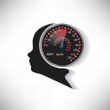 Hastigheten av den mänskliga hjärnan jämförde till bilhastighetsmätaren Arkivfoton