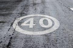 Hastighetsbegränsning 40' för horisontalmarkering för vägyttersida ', royaltyfria bilder