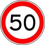 Hastighetsbegränsning 50, km/tim för trafiktecken för vektor 50 royaltyfria foton