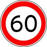 Hastighetsbegränsning 60, kmh för trafiktecken för maximal hastighet 60 för vektor royaltyfri foto