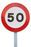 Hastighetsbegränsning 50 som för trafiktecken isoleras på en vit bakgrund Royaltyfri Bild