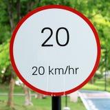 Hastighetsbegränsningtecken 20 Arkivbilder