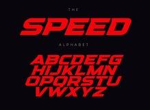Hastighetsbokstavsuppsättning Röd loppstilsort Kursiv satte en klocka på springa latinskt alfabet för stilvektor Stilsorter för h royaltyfri illustrationer