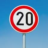 Hastighetsgräns 20 Arkivbild