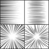 Hastighetslinjer, horisontal för rörelseremsamanga komisk och radiell effektvektoruppsättning royaltyfri illustrationer