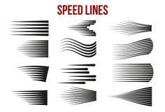 Hastighetslinjer svärtar för Manga och komiska vektorbeståndsdelar på vit bakgrund royaltyfri illustrationer