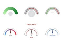 Hastighetsmätare avkännare, indikator, gas för visartavla för tecken för mätning för panel för instrumentbräda för termometervekt royaltyfri illustrationer