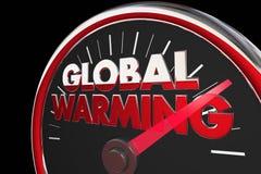 Hastighetsmätare för klimatförändring för global uppvärmningtemperaturer stigande royaltyfri illustrationer