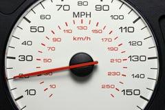 Hastighetsmätare på 20 MPH Arkivfoto