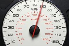 Hastighetsmätare på 90 MPH Royaltyfri Bild