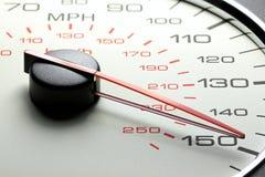 Hastighetsmätare på 150 MPH Arkivfoto