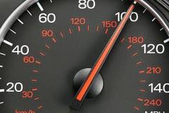 Hastighetsmätare på 100 MPH Arkivbilder
