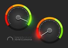 Hastighetsmätaremåttet arrangerar vektorn stock illustrationer