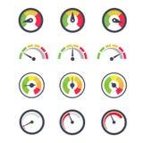Hastighetsmätaresymbol, indikator av minimien och maximal mått med visarpekaren Royaltyfri Bild