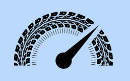 Hastighetsmätarevektorillustration Utforma vid gummihjulspår Arkivfoto
