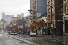 Hasting-Straße an der Hauptleitung in Vancouver Stockbilder