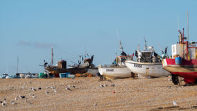 HASTINGS ÖSTLIG SUSSEX/UK - NOVEMBER 06: Fiskebåtar på bet Arkivfoton