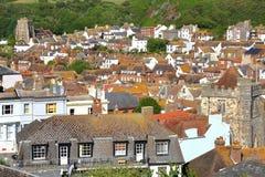 HASTINGS: Общий вид городка Hastings старого от западного холма Стоковое Фото
