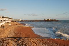 Hastings beach and pier Royalty Free Stock Images