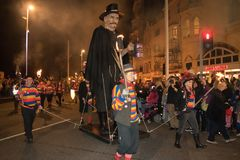 Hastings Bonfire Night and Parade 14 October 2017 Royalty Free Stock Photo