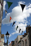 Hastings bunting hanging from street Stock Images