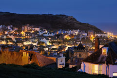 Hastings, England illuminated at night Royalty Free Stock Image