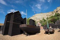 Hastings fishermens huts and boats Royalty Free Stock Image