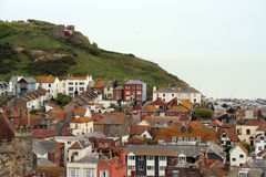 Hastings old town. Airiel view of Hastings old town. East hill cable car and rooftops Stock Images