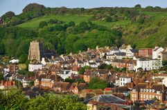 Hastings Old Town East Sussex UK. The ancient port of Hastings, East Sussex UK, viewed from West Hill stock photos